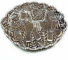 Éléphant indien en bois sculpté Bloquer Stamp
