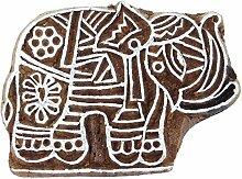 Elephant Stamp Brown main Indien en bois sculpté