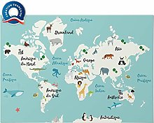 ELWEN Poster XXL Planisphère Map Monde Carte du