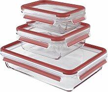 Emsa 514168 Lot de 3 boîtes alimentaires en verre