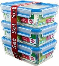 EMSA CLIP&CLOSE Lot 3 boîtes de conservation en