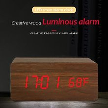 En bois Horloge LED Numérique ALIMENTÉ Par