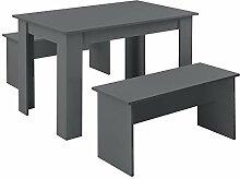 [en.casa] Lot de Table et 2 Bancs Design Ensemble