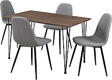 [en.casa] Table à Manger Aspect du Bois + Chaise