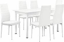 [en.casa] - Table à manger blanc 140cm x 60cm x