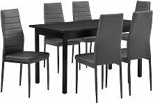 [en.casa] - Table à manger gris 140cm x 60cm x
