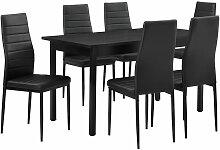 [en.casa] - Table à manger noir 140cm x 60cm x
