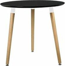 en.casa Table ronde noir H:75cmxØ80cm bois table