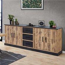 Enfilade 230 cm couleur bois foncé OSWALD