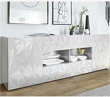 Enfilade design 2 portes 4 tiroirs blanc laqué