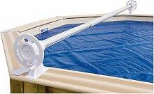 Enrouleur de bâche à bulles pour piscine en bois