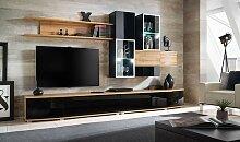 Ensemble complet mural meuble TV noir brillant -