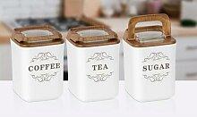 Ensemble de 3 boîtes hermétiques Coffee Tea et