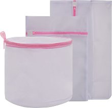 Ensemble de 3 sacs à linge en filet Blanc et rose