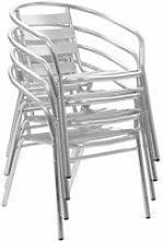Ensemble de 4 Chaises de Jardin en Aluminium,