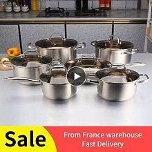 Ensemble de 6 casseroles en acier inoxydable