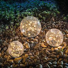 Ensemble de boule de verre solaire lumières de