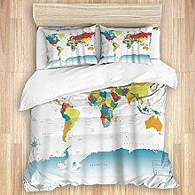 Ensemble de Couverture de Couette, Carte du Monde