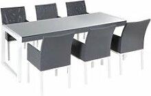 Ensemble de jardin en aluminium gris table et 6