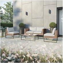 Ensemble de jardin sofa avec 2 fauteuils et table