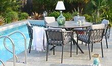 Ensemble de jardin table ronde et 6 fauteuils