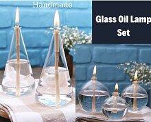 Ensemble de lampes à huile en verre, petite lampe
