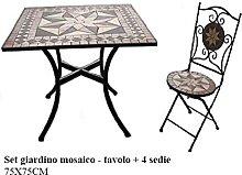 Ensemble de meubles de jardin carré en mosaïque