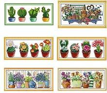 Ensemble de points de croix Cactus plante verte,