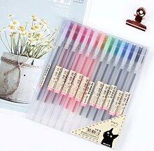 Ensemble de stylos Gel de 12 couleurs, 0.5mm,