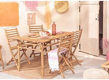 Ensemble de table et 4 chaises de jardin en bambou