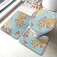 Ensemble de tapis de bain 3 pièces, motif carte