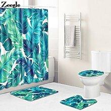 Ensemble de tapis de bain et rideau de douche