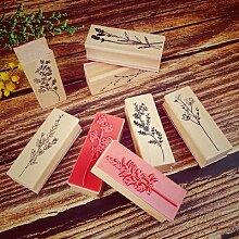 Ensemble de timbres en caoutchouc en bois, tampons