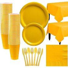 Ensemble de vaisselle jetable en plastique jaune
