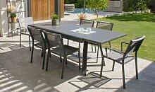 Ensemble jardin à rallonge 6 fauteuils -