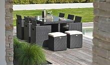 Ensemble jardin encastrable résine noire 10