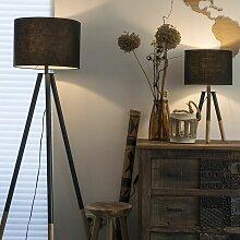 Ensemble lampe de table et lampadaire noir avec