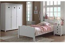 Ensemble lit 90x200 cm avec chevet et armoire 3