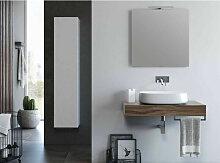 Ensemble meuble de salle de bain noyer et miroir