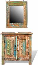 Ensemble meuble sous vasque et miroir en bois