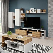 Ensemble meuble TV avec étagère murale ALVA en