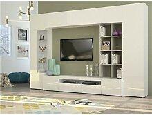 Ensemble meuble TV blanc laqué et effet béton
