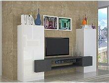 Ensemble meuble TV blanc laqué et effet marbré