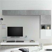 Ensemble meuble TV blanc laqué et gris LUCANO