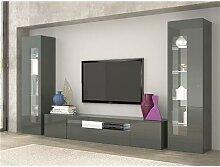Ensemble meuble TV blanc ou gris design MARION