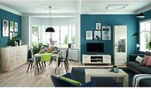Ensemble meuble tv + colonne vitrine + table basse