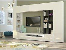 Ensemble meuble TV couleur gris marbré et blanc