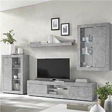 Ensemble meuble TV design effet béton gris ARIEL
