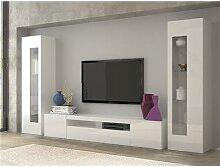Ensemble meuble TV laqué blanc brillant design