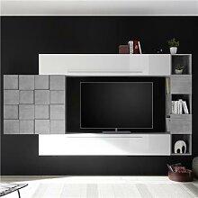 Ensemble meuble TV mural blanc et gris béton